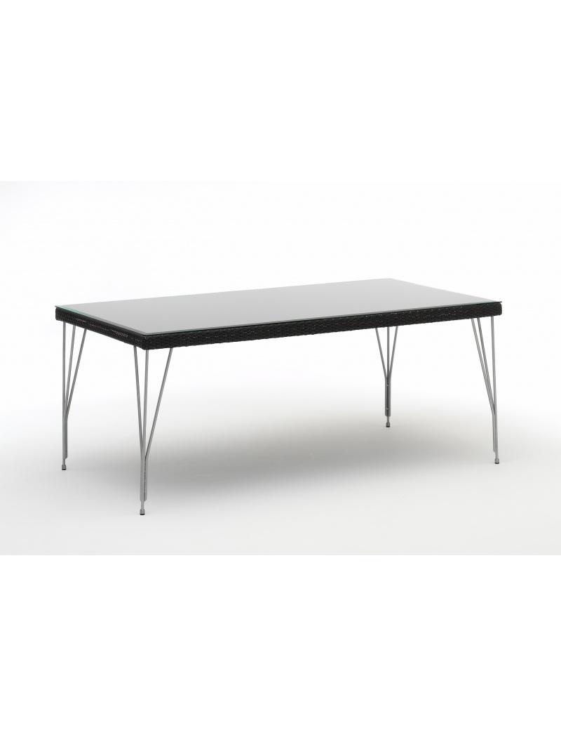 Sika Design Table Jupiter 1,80m noir plateau de verre
