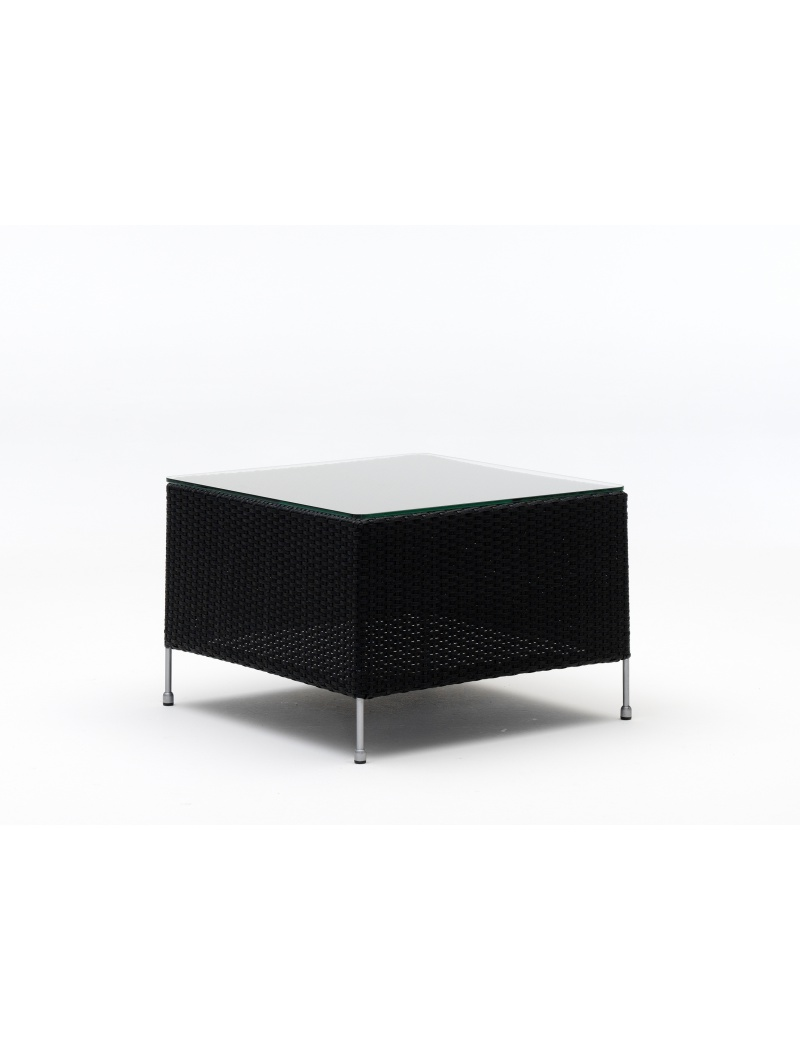 Sika Design Table basse Orion noir avec plateau en verre
