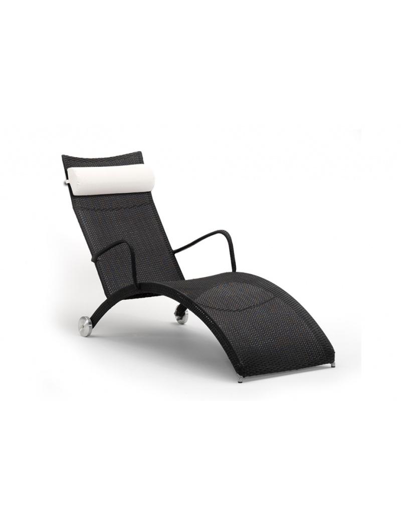Sika Design Bain de soleil Helena noir Avec coussin blanc