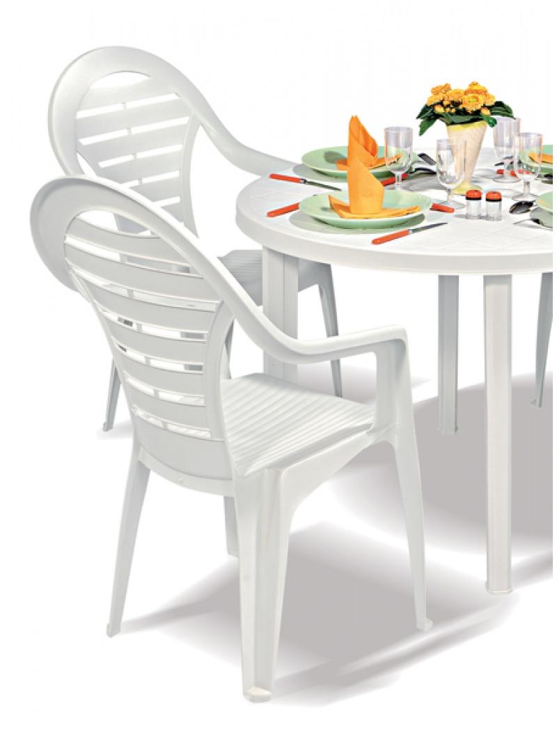 Chaise empilable haut dossier \'corolla\' blanc