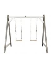 Portique deux balançoires en pin gris