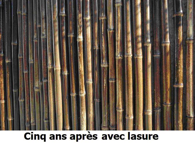 Clôture de bambous 5 ans après lasure
