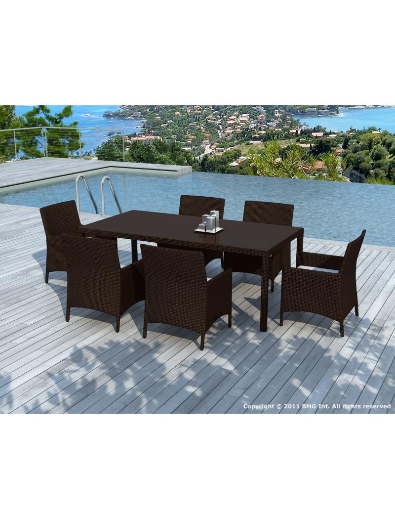 Salon de jardin : table de jardin et chaises résine tressée