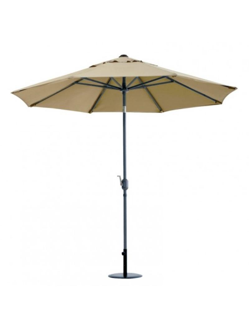 Parasol rond aluminium Ø2,7m taupe