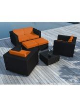 Salon de jardin Pausa Noir coussins oranges