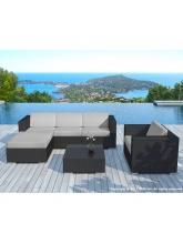 Salon de jardin Copacabana résine tressée noire coussins gris