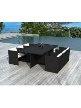 Table Sumatra résine tressée noire + 6 fauteuils