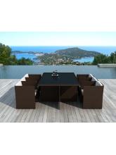 Table Sumatra résine tressée chocolat + 6 fauteuils