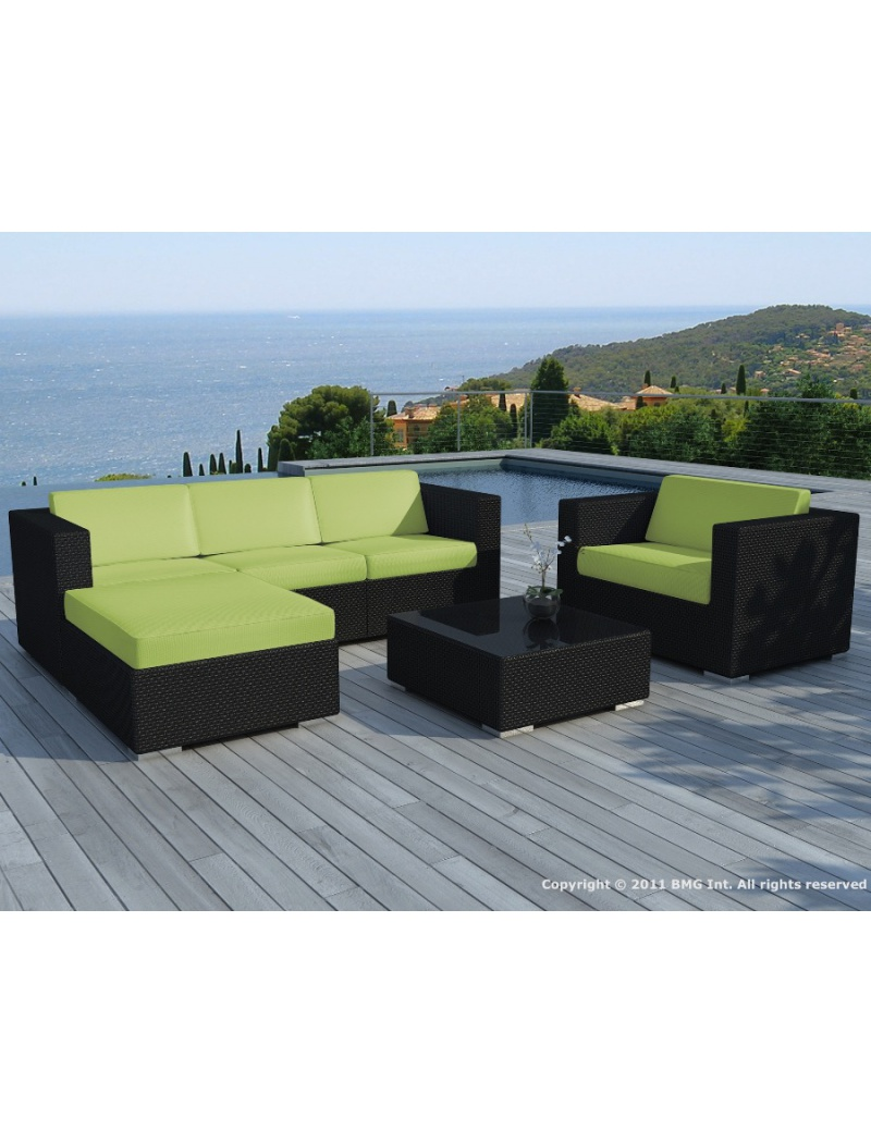 salon de jardin copacabana r sine tress e noire coussins verts delorm salons de jardin. Black Bedroom Furniture Sets. Home Design Ideas