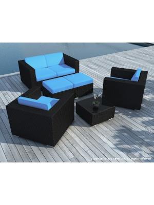 Salon de jardin Pausa Noir coussins bleus