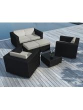Salon de jardin Pausa Noir coussins gris clairs