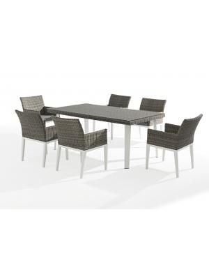 Table Orlando + 6 fauteuils en aluminium et résine tressée