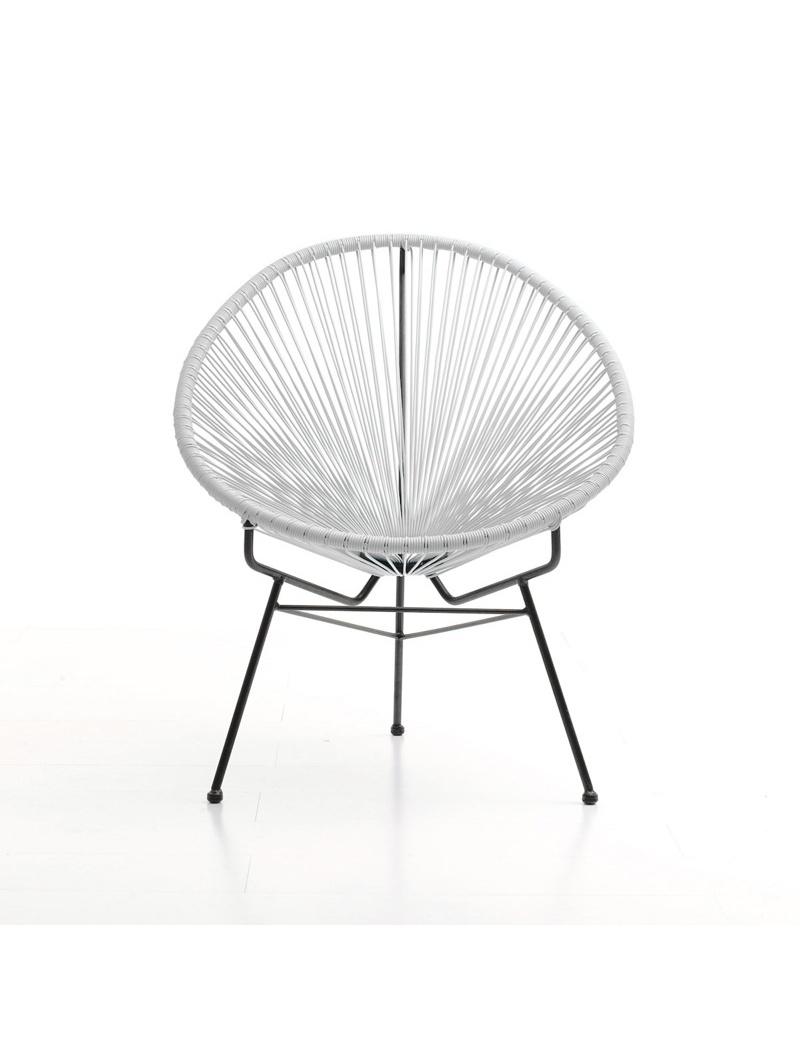 Fauteuil Acapulco Acier et Résine Blanc Delorm - Chaises & fauteuils ...