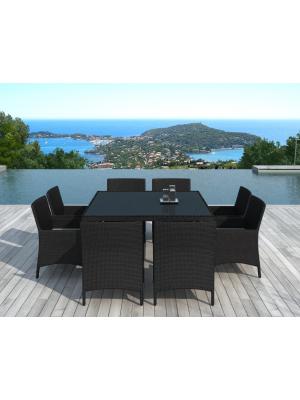 Table Le Carré + 8 fauteuils en résine tressée noire
