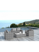 Salon de jardin Venise résine tressée gris