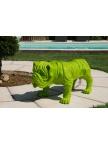 Statue Bouledogue vert en résine