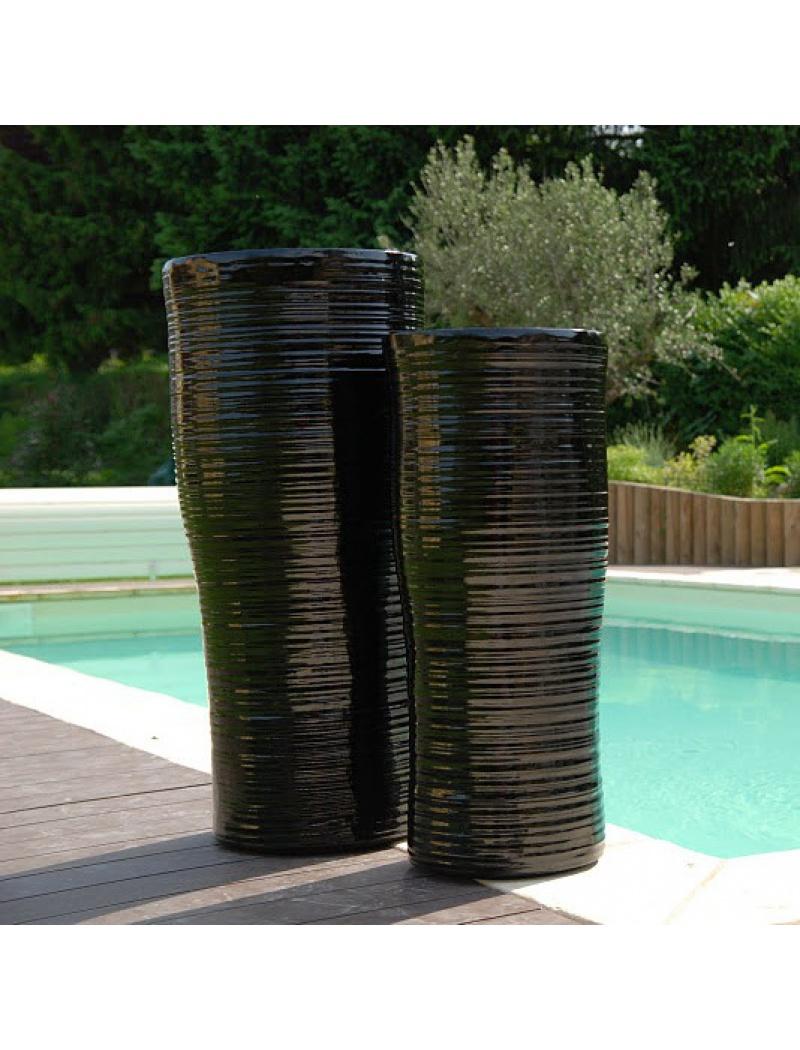 pot de fleurs en fibre de verre pots curve coloris blanc ou noir