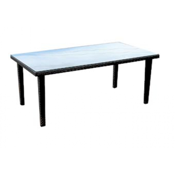 Table de jardin rectangulaire en osier polypro tress de - Table de jardin en osier ...