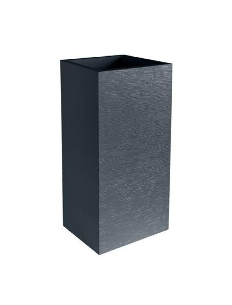 Bac fleurs carr graphit gris anthracite eda plastiques for Pot exterieur gris