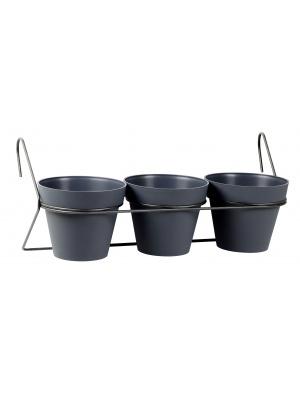 Support de bac à fleurs métal 3 pots Toscane