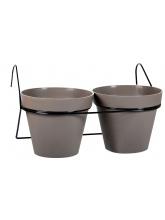 Support de bac à fleurs métal 2 pots Toscane
