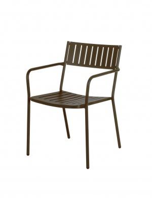 Lot de 4 fauteuils Bridge marron d'Inde