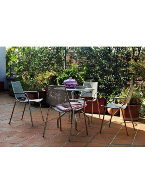 Ensemble Cambi table ronde et 4 fauteuils - 5 coloris