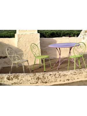 Ensemble Pigalle table ronde et 4 chaises - 6 coloris