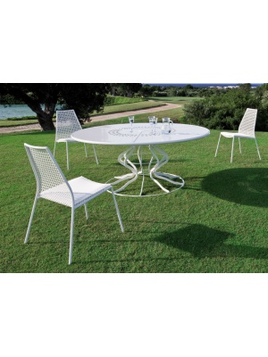 Ensemble table ronde minuetto et 8 chaises vera