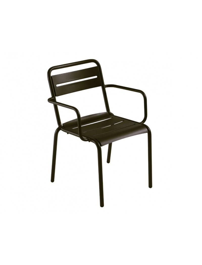 EMU Lot de 4 fauteuils Star fer ancien