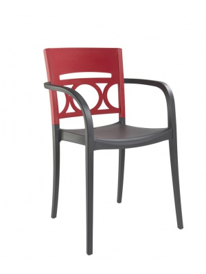 Fauteuil Moon Anthracite / Rouge