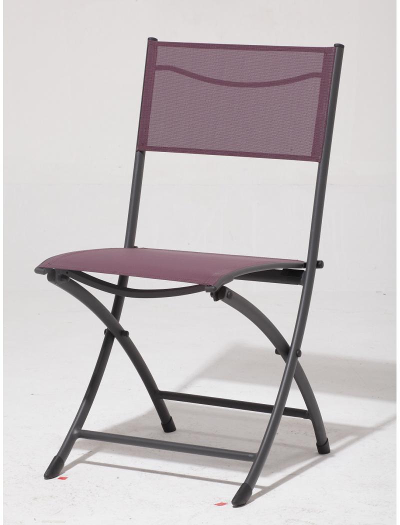 Chaise pliante Jean's toile Phifer prune