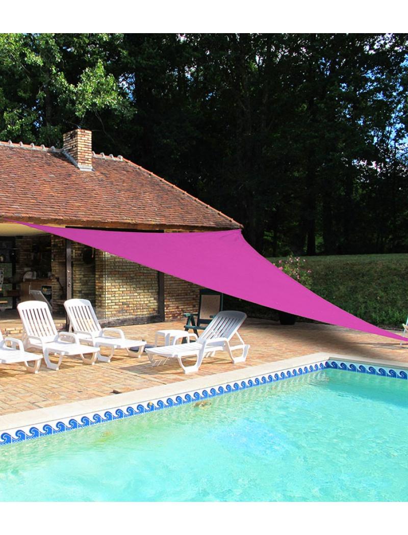 voile d 39 ombrage triangulaire 5m rose ideanature voile d 39 ombrage jardin concept. Black Bedroom Furniture Sets. Home Design Ideas