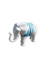 Éléphant blanc avec marinière bleue
