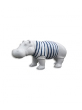 Hippopotame blanc marinière bleue