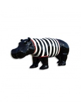 Hippopotame noir marinière blanche