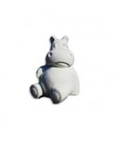 Hippopotame assis Blanc