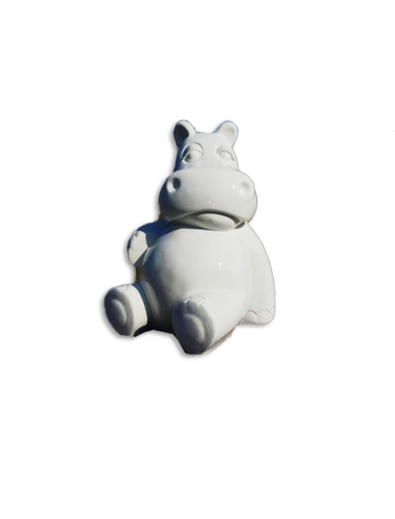 Hippopotame assis blanc infinytoon objets d co statues for Objet decoration hippopotame