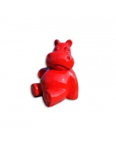 Hippopotame assis Rouge