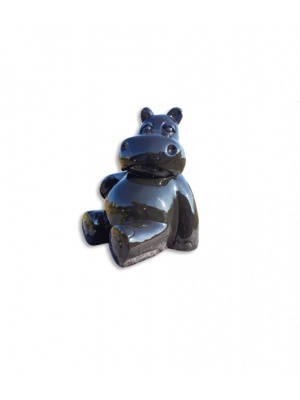 Hippopotame assis Noir