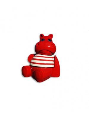 Hippopotame rouge assis marinière blanche