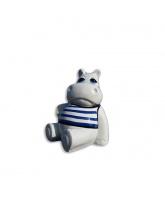 Hippopotame blanc assis marinière bleue