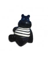 Hippopotame noir assis marinière blanche