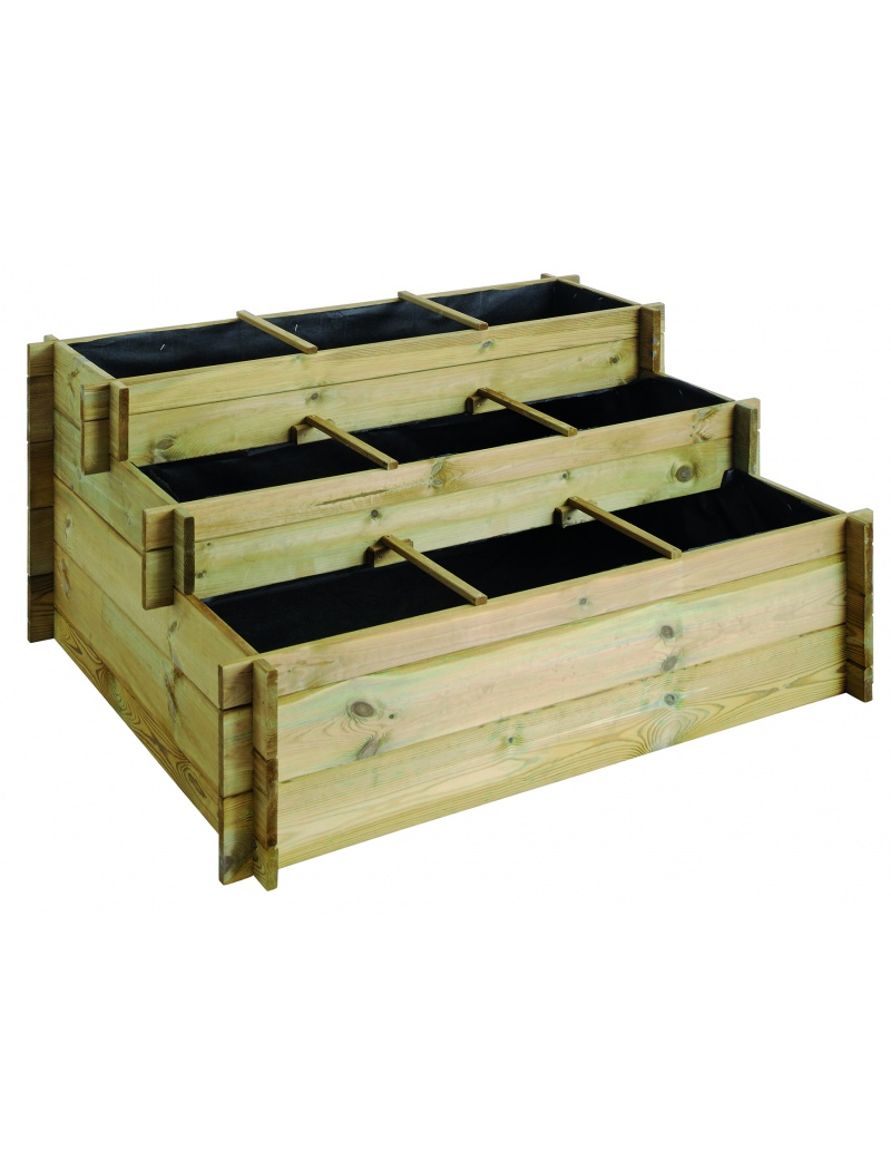 carr potager burger en bois bac plantes 3 niveaux en. Black Bedroom Furniture Sets. Home Design Ideas