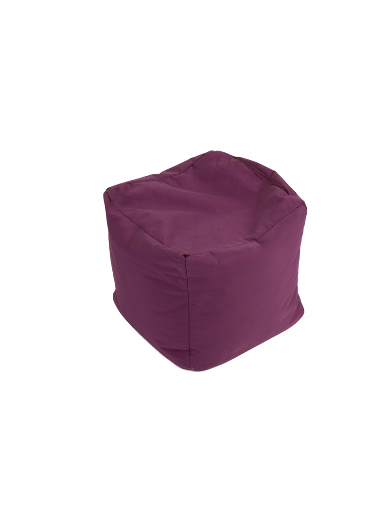 pouf cube repose pieds aubergine jumbo bag coussins. Black Bedroom Furniture Sets. Home Design Ideas