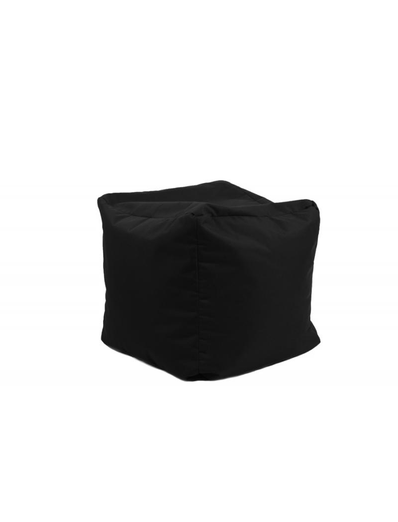 Jumbo bag Pouf Cube repose-pieds Noir