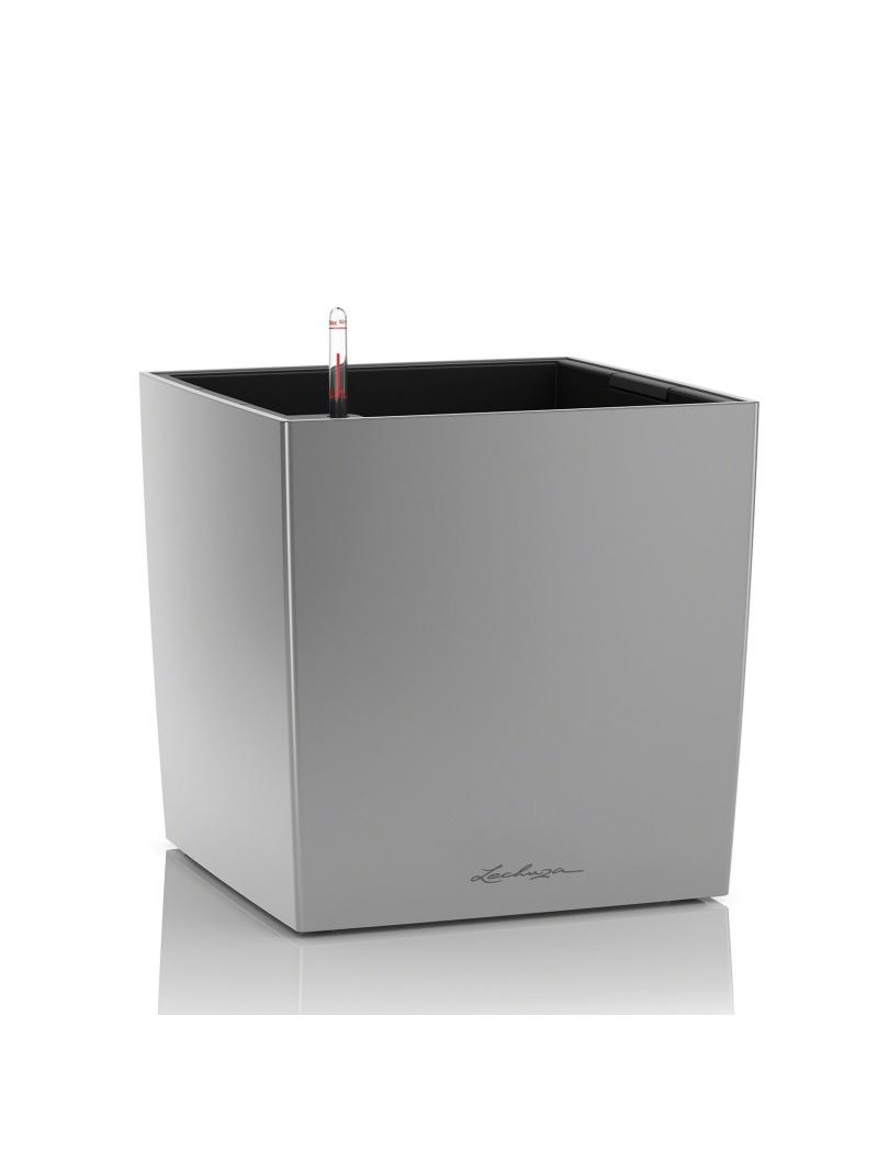pot cube premium argent m tallis lechuza pot de fleurs r serve d 39 eau jardin concept. Black Bedroom Furniture Sets. Home Design Ideas