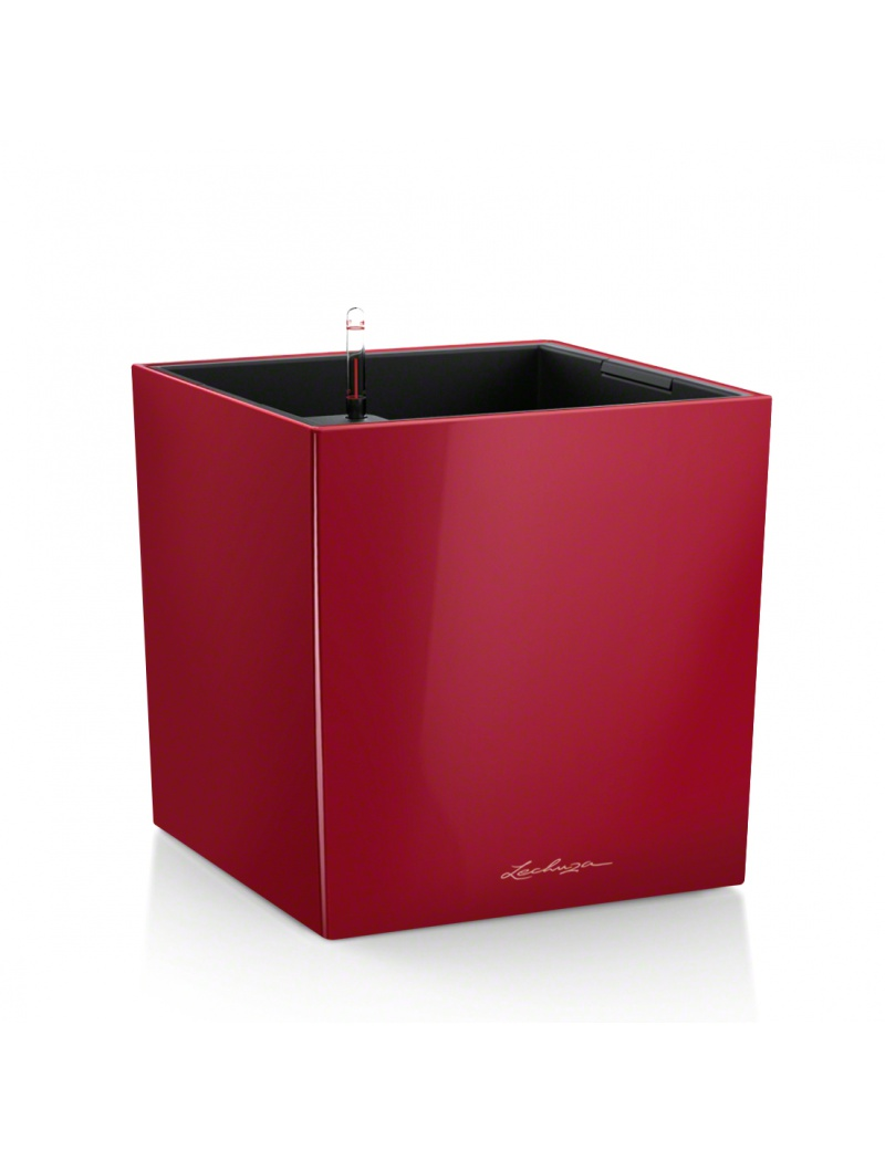 pot cube premium rouge brillant lechuza pot de fleurs. Black Bedroom Furniture Sets. Home Design Ideas