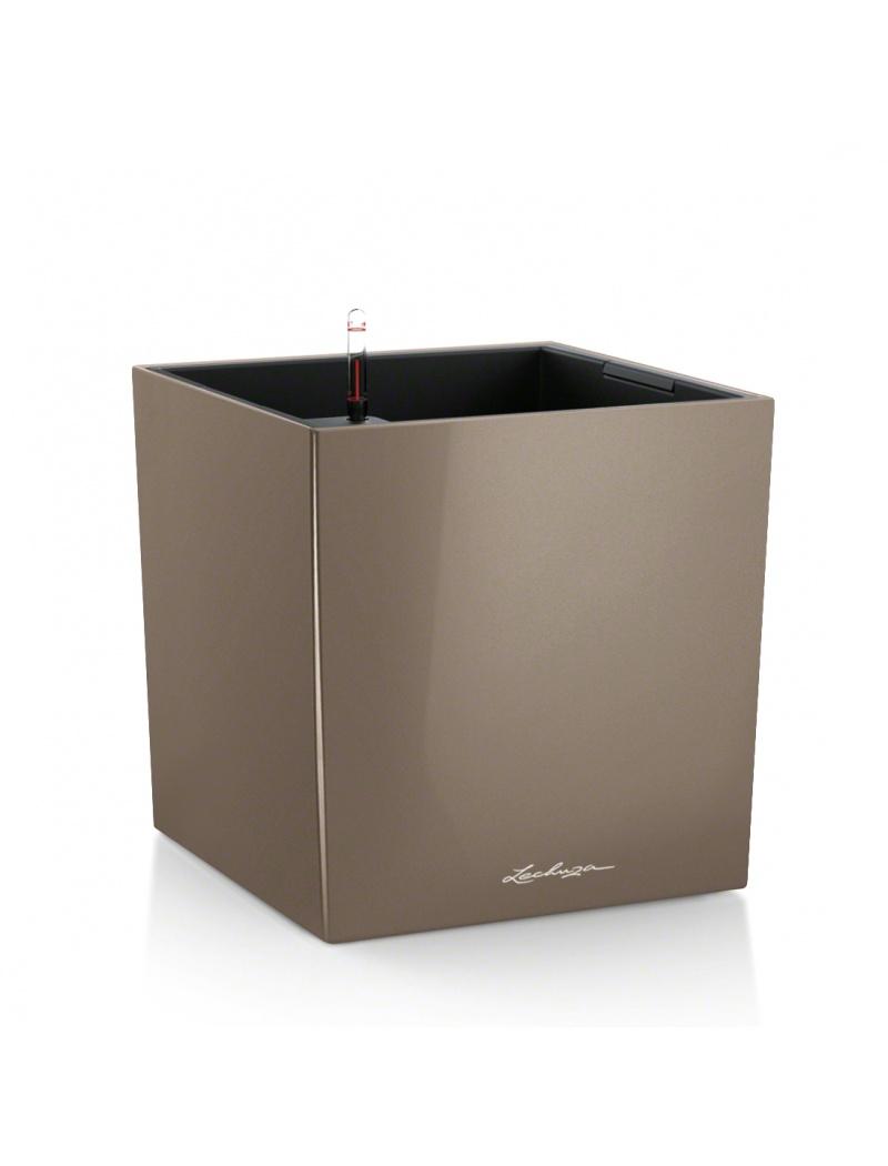 Lechuza Pot Cube Premium Taupe brillant Hauteur 30 cm