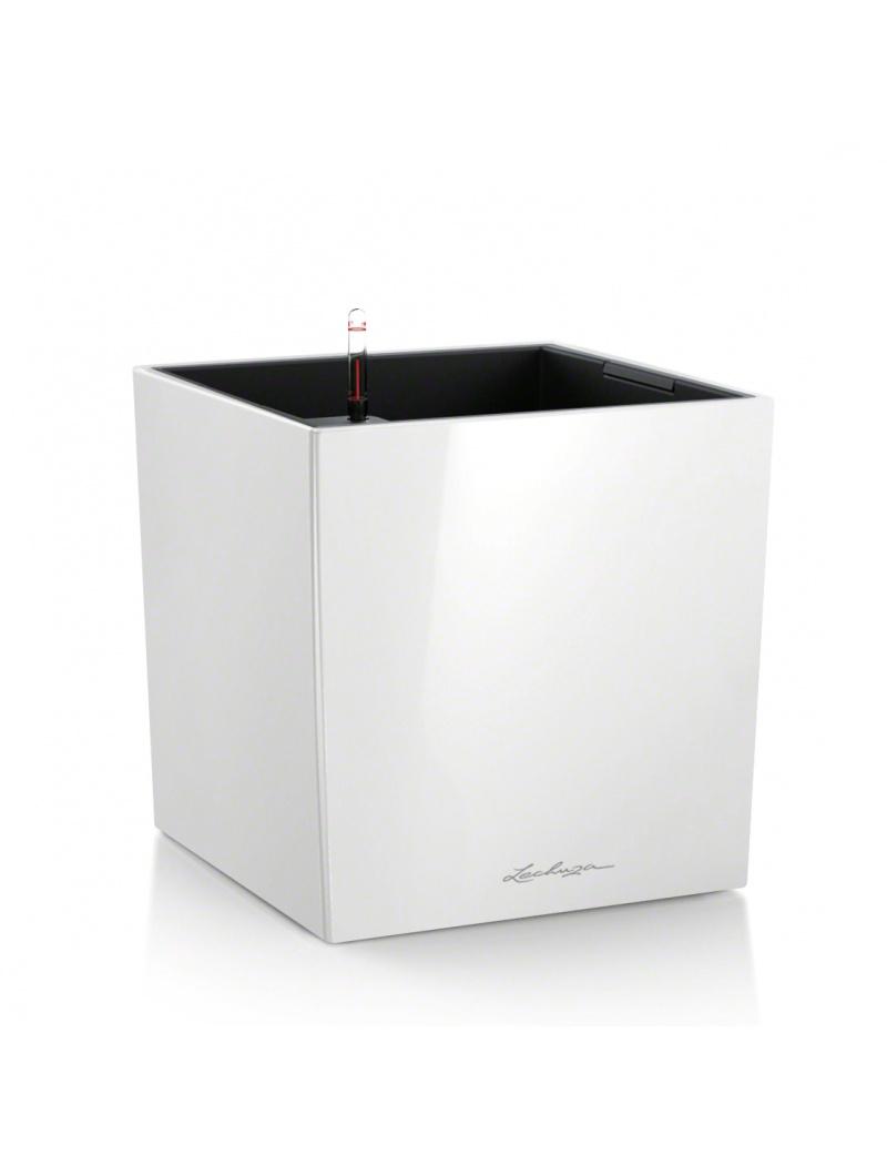 Lechuza Pot Cube Premium Blanc brillant Hauteur 30 cm